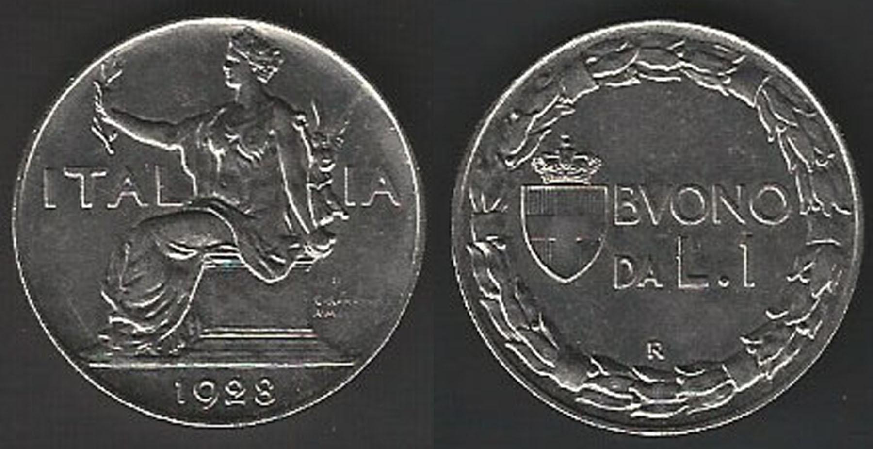 735be8b60e 1922 Regno d'Italia Vittorio Emanuele III Buono da Lire 1 Italia seduta